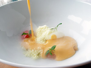 WARM squash gazpacho fresh cheese, valladolid snow and pine-tree memories